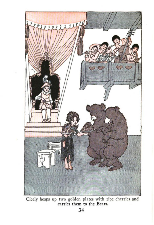 An Illustration of Cicely and the Bears from Children's Plays by Skinner: Two Bears, a little girl, a king, and some musicians