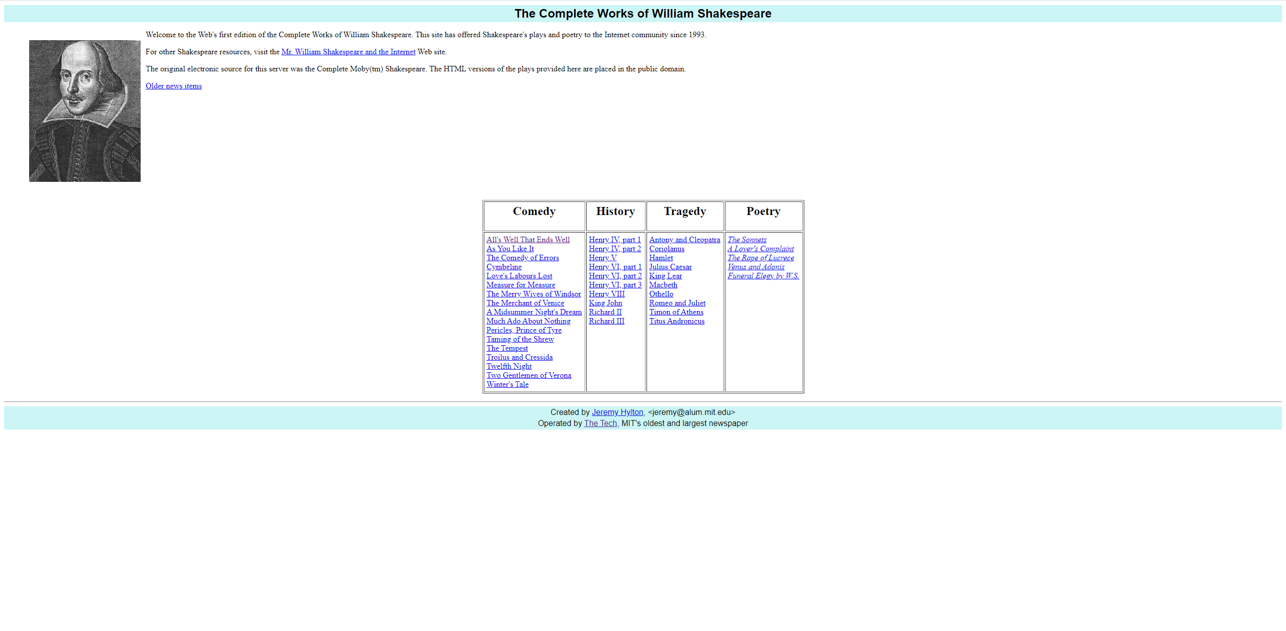 Screenshot of the homepage of The Complete Works of William Shakespeare