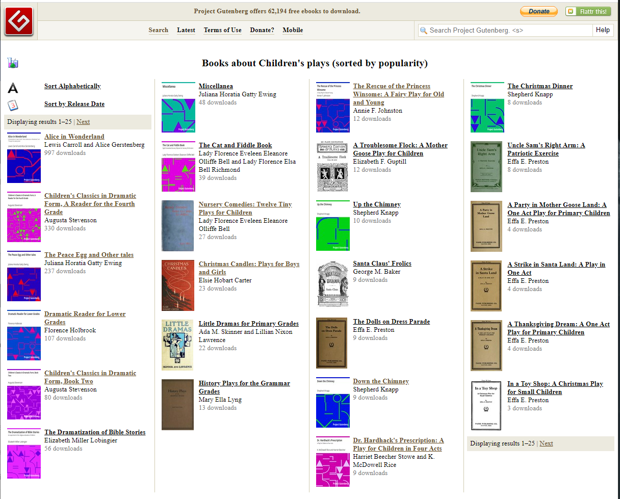 Screenshot of Project Gutenberg's Children's Plays Subject