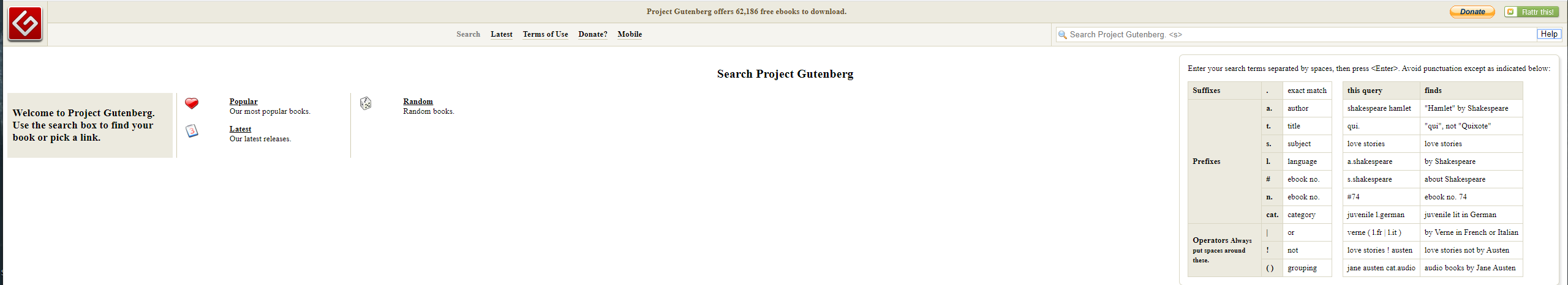 Screenshot of the Project Gutenberg Search Function