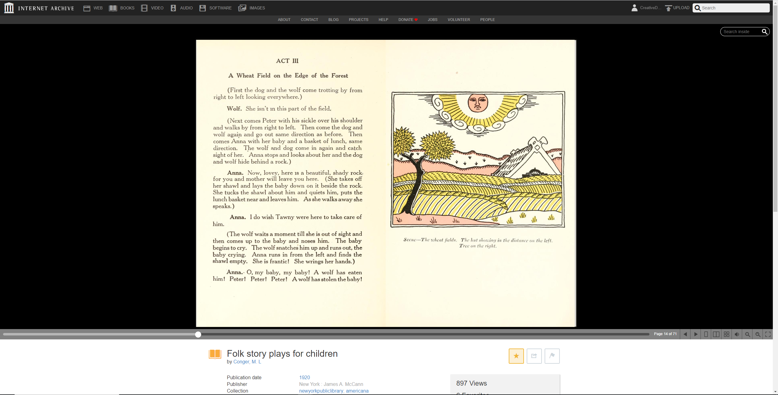 Example of Internet Archive's reading interface